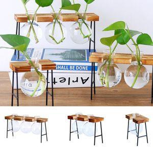 Glass Flower Vase Tube Bottle Hydroponic Plant Transparent Terrarium Container Holder Desktop Decoration With Wood Iron Stand