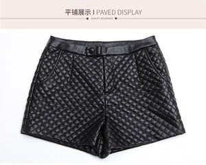 Women's Shorts 2021 Autumn And Winter Quilted High Waist Pu Short Leather Large Size Was Thin Outer Wear Boots