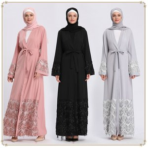 Casual Dresses Caftan Open Abaya Dubai Turkey Abayas for Women Muslim Hijab Dress Cardigan Islam Clothing Moroccan Kaftan Vestido