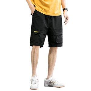 Mens Pants Thin Breathable Short Overalls Pocket Design Loose Casual Drawstring Streetwear