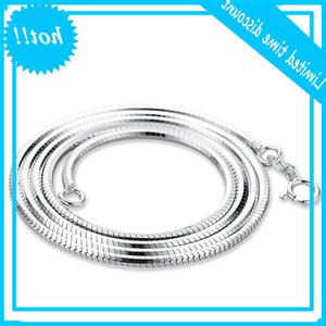 Super Men Snake Genuine Solid Sterling Silver Long White Gold Cover Never Lost Excellent Chain Jewelry