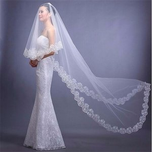 Bridal Veils Brand With Appliqued Edge 3M White Ivory Red Sweet Princess Wedding Accessories Elegant Long