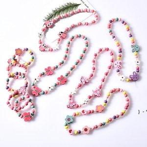 NEW 8 styles kids necklace sets accessory Colorful beads Fox Rabbit Unicorn Charm Beads necklace and bracelet girl Birthday Jewelry OWA5199