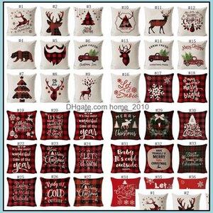 Other Textile Textiles Home & Gardenchristmas Truck Xmas Tree Holding Er Linen Cartoon Cushion Ers Retro Plaid Pillow Cases Decoratio Pillow