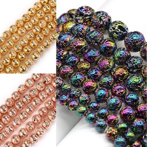Rose Gold Silver Color Natural Lava Stone Round Hematite Beads for Needlework Jewelry Making Bracelet Necklace Accessories 15'' 1535 V2