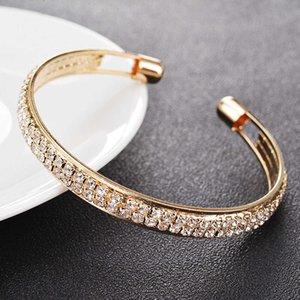Luxe Deux rangées Diamands Open Bracelet En Métal Glossy Glitter Gold Femme Femme Mode Élégante Strass Bracelet Bracelet Bijoux