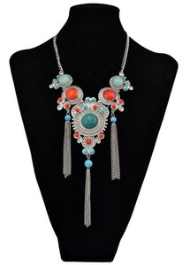 Chains Bohemia Reteo Colorful Alloy Necklace Resin Rhinestone Tassel Chain Pendant Necklaces For Women Party Jewelry