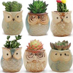 Cute Mini Ceramic Decorative Owl Flower Pots Planters Retro Creative Succulents Nursery Floral Holder Organizer Garden Supplies FWB6205
