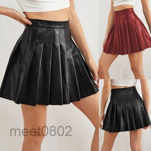 Faux Leather PU Pleated Skirt High Waist Skirts Womens Casual Black Short Skirt Preppy Style A232