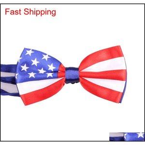 Cravat Accessories Drop Delivery 2021 Wholesale Fashion Men Tie Union Jack British Bowtie Australian American Flag Bow Ties Necktie Wholesale