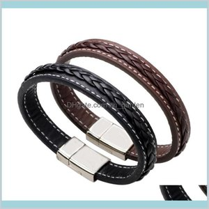 Charm Drop Delivery 2021 Genuine Leather Bracelet Magnetic Buckle Weave Braid Bangle Cuff Wristband Fashion Jewelry Women Mens Bracelets Gift