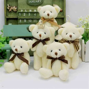 Verkauf 12 teile / los Fliege 13 cm Mini Bär Puppen Plüsch Gefüllte Spielzeug, Mädchen Geburtstagsgeschenk Kleine Anhänger, Gefüllte Tiere 210804
