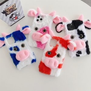 Cute cow plush phone cases for iPhone 12 11 pro promax X XS Max 7 8 Plus