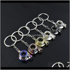 Keychains Suti Originality Metal Turbo Keychain Sleeve Bearing Spinning Part Model Turbine Turbocharger Key Chain Ring Keyfob Keyring G7Lgy