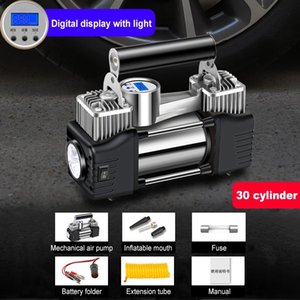 120W Air Compressor 12V 24V Wired Inflatable Pump Portable Double Cylinder Car Air Pump With Light Digital Display Tire Inflator