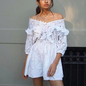 Vintage Lace Embroidered Ruffled White Woman Dress V Neck High Waist Half Sleeve A Line Mini Dress Girl Summer Dresses 2021