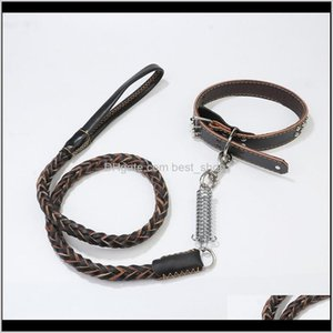 Cowhide Medium And Large Dogs Traction Adjustable Eightstrand Spring Collar S M L Svi86 Leashes Tq0Za