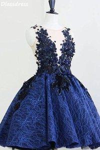 Dark Blue Cocktail Dress Applique Sequin Laces A-line O-neck Sleeveless Mini Short Evening Party Dresses robes de soirée