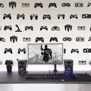 39Pcs Video Game Constroller Joysticker Wall Sticker Playroom Kids Room Gaming Zone Gamer Xbox Ps Decal Bedroom Vinyl Decor 210831