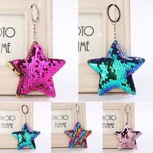 Cute Shiny Sequins Star Keychain Fashion Bling Key Chain Keyrings For Women Men Car Bag Pendant Jewelry Gifts Accessories