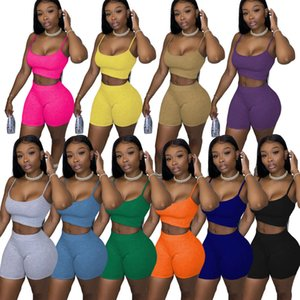 2020 women's fashion casual solid color suspender Vest Top Shorts two piece pantsuit
