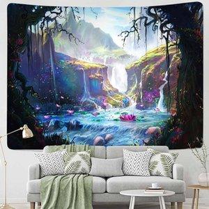 Fantasia Cogumelo Floresta Tapeçaria Pendurar Sala Casa Dormitório Arte Decoração Trippy Brilhante Âncora Pano Psicodélico Tapeçaria Cobertor