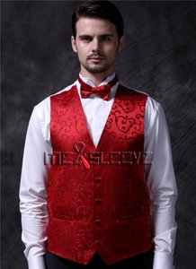 ( vest+ bow tie + hanky ) Uniform Mens Plus Size 6xl Suit Single Breasted Casual Straight Costume Red Gilet Floral Brand Customize Luxury Fabric Man Tuxedo Waistcoat Set