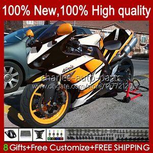 Motorcycle Bodys For KAWASAKI NINJA ZX 10R 10 R 1000 CC ZX10R 06 07 Bodywork 14No.71 ZX-10R ZX1000 1000CC 2006 2007 ZX1000C ZX1000CC 2006-2007 Fairing Kit orange white