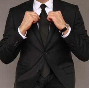 2021 Classy Black Wedding Tuxedos Mens Suits Slim Fit Peaked Lapel Prom BestMan Groomsmen Blazer Designs 2 Piece Set( Jacket+Pants+Tie) Custom Made Twill B2022