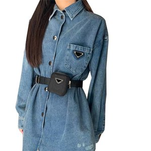 Casual Denim Shirt Dress Waist Bag Decoration Belt Buckle Dresses Long Sleeve Triangle Label Skirts For Women Streetwear