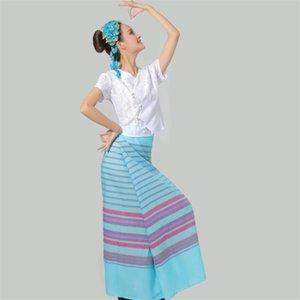 Ásia Pacific Islands Fato étnico Verão Tailândia Mulheres Conjuntos Tradicional Dança Nacional Vestuário Elegante Festival Party Apparel
