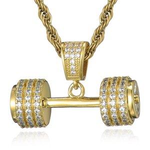 Collier de chaîne de corde de strass de strass de bling glacé Barbell Gym Gym Fitness Dumbbell Gold Color Pendentifs Colliers pour hommes Bijoux