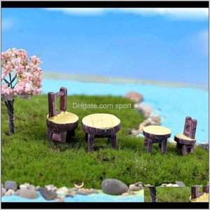 Decorations Patio, Lawn Home & Drop Delivery 2021 2Pcs Set Round Table And Chair Potted Plant Ornament Diy Material Model Handicraft Moss Ter