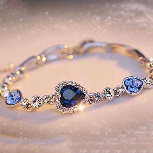 Famshin Hot Womens Ladies Crystal Rhinestone Bangle Ocean Blue Bracelet Chaining Hart Sieraden Party Gifts