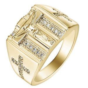 Jesus cross ring diamond and gold plated European and American fashion ring