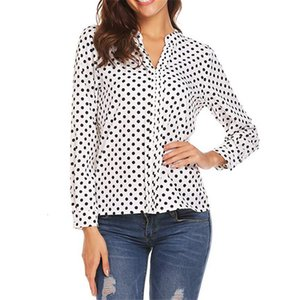 Large size Women's spring print small dot V-neck long-sleeved sleeves Shirt fashion casual loose ladies Blouse