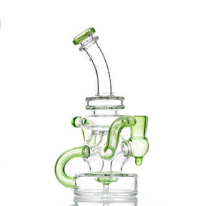 2021 Hookah Glass Bong Water Pipes 7.8 Inch Recycler Dab Rig 14mm Joint With Quartz Banger