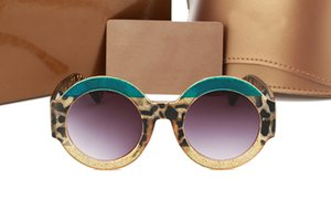 2021 style European and American sunglasses fashion three-color frame round UV400 luxury color crystal bright mirror 1764