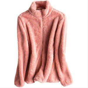 Zipper Open Stitch Hoodies Women Solid Color Fleece Sweatshirt Fashion Double Sided Velvet Coral Flannel Hoodie Autumn Winter Women's & Swea