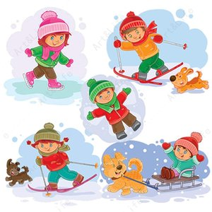 Painting Supplies Metal Carbon Cutting Dies Skiing Boy And Girl Stencils For Scrapbooking Craft Knife Mold Birthday Card Embossing Sta