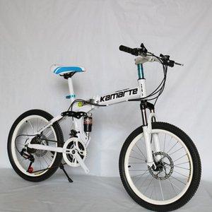 20inch folding mountain bike 21 speed Children's bicycle Two-disc brake Lady bike 5 knife wheel and Spoke wheel folding bicycle white