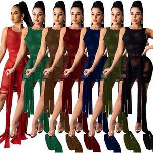 Casual Dresses Summer Dress Sleeveless camisole vest Bandage nightclub sexy perspective irregular mesh woman's clothing Plus Size S M L XL 2XL 3XL 4XL 5XL red blac