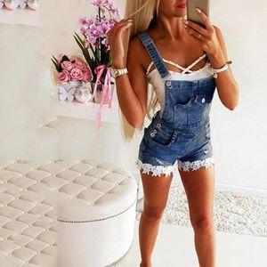 Women Summer Denim Overalls Womens Rompers Floral Hem Stitching Jeans Short Jumpsuits Plus Size Bib Bodysuits Loose Causal Jumpsuit Summe