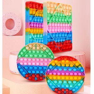 20CM Mega Fidget Bubble Poppers board Finger toys rainbow tie dye push pop its sensory finger puzzle Jumbo big size poo its popper stress relief ADHD needsG4UU0V4