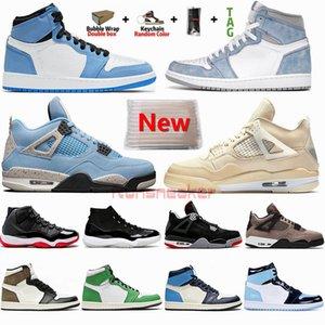 Erkek Basketbol Ayakkabıları 1 1 S Üniversitesi Mavi Hiper Kraliyet Karanlık Mocha Jumpman 4 4 S Yelken Beyaz Bred 11 11s Bayan Spor Sneakers Eğitmenler