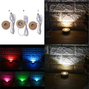 Handmade LED Wood Resin Display Base Round Wooden Night Ornament Stand DIY Light Art Crafts Jewelry Pouches, Bags