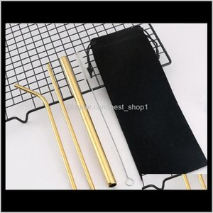 Stainless Steel St Reusable Rainbow Gold Straight Bend Metal Drinking Sts Set With Cleaning Brush Bag Gga34797 Woyu Uzakd