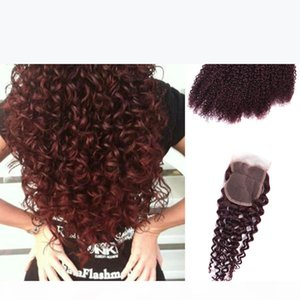 Red Wine Hairs Weave 99J Burgundy Peruvian Jerry Curl Human Hairs Bundle Kinky Curly Hair With Closure Virgin Hair Extensions Curly Hair Red