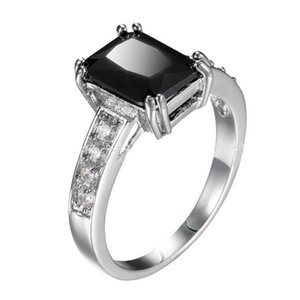 Wedding Rings Genuine White Gold Filled Ring With Black Cubic Zirconia For Women Stamp Diamante Jewelry Size 6-7-8-9-10