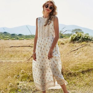 Jastie Sleeveless Summer Women Dress Floral Print O-Neck Boho Long Dresses Hippie Chic Casual Beach Maxi Vestidos 2021